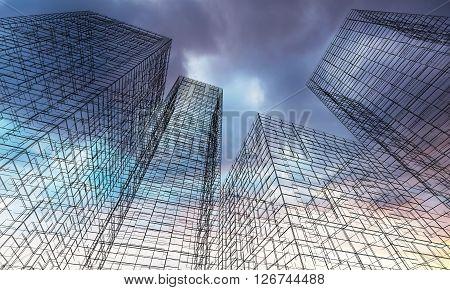 3D Render Illustration, Ghost Town Concept