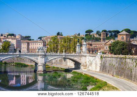 Rome Cityscape With Ponte Vittorio Emanuele Ii