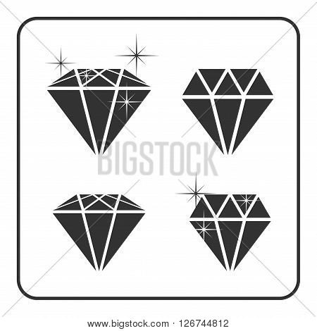Diamond icons with glitter. Shiny crystal signs. Brilliant stone. Black silhouette isolated on white background. Flat fashion design element. Symbol gift jewel gem or royal rich Vector Illustration