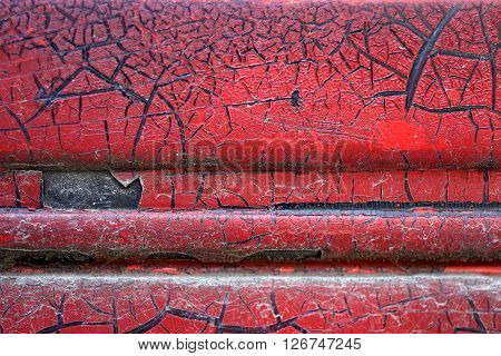 Cracked Red Paint On Grunge Metal Surface - Macro 15