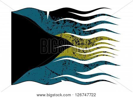 Bahamas Flag Wavy And Grunged