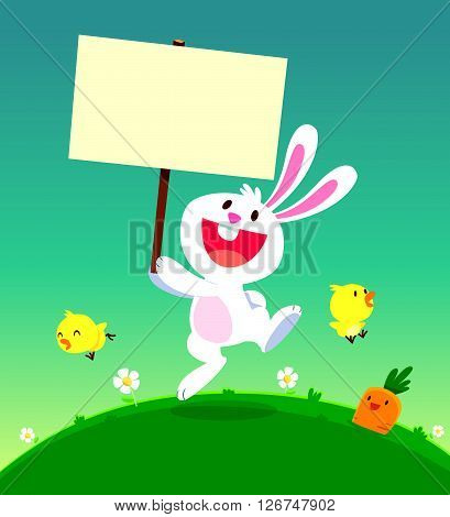 cartoon illustration of cute white rabbit holding a sign with chicks and carrot