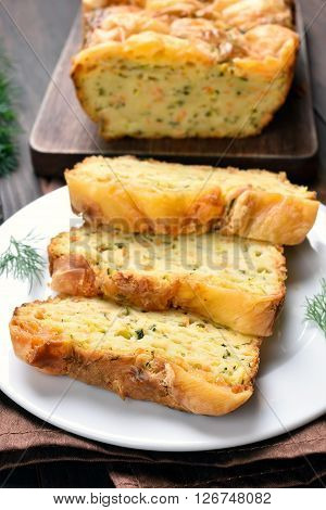 Sliced vegetable moist bread with zucchini cheese eggscarrot