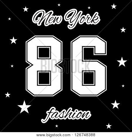 T shirt typography graphic New York. Athletic style NYC. Grunge fashion stylish print for sports wear. College girl team. Cute template apparel card label poster. Symbol varsity Vector illustration