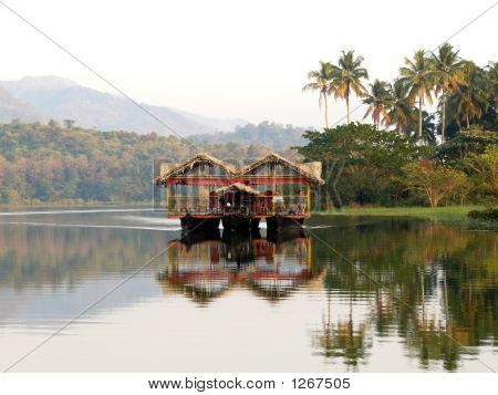 House Boat Floating On A River