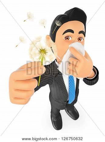 3d business people. Businessman with pollen allergy. Spring. Isolated white background.
