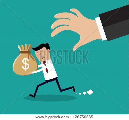 Cartoon hand tries to grab the bag of money running businessman. vector illustration in flat design on green background