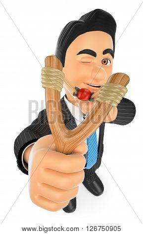 3d business people. Businessman aiming with a slingshot. Accuracy concept. Isolated white background.
