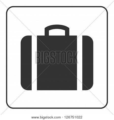 Suitcase icon. Black briefcase silhouette isolated on white background. Design element. Case sign. Symbol portfolio luggage and business travel work. Flat concept trip tourism. Vector Illustration