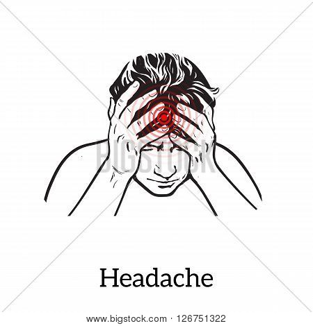 Picture a woman with a headache, vector illustration sketch of a woman who holds his hand to his head, pain in the head of a woman, the concept of sickness or disease in the human head