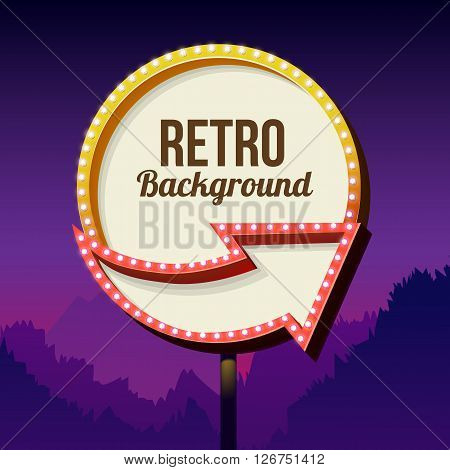 Neon sign with lights. Retro billboard in the city at night. Clean place with a frame. Volumetric vintage frame. Roadside sign. Road red sign from the 50s. Shield against night mountain. Vector