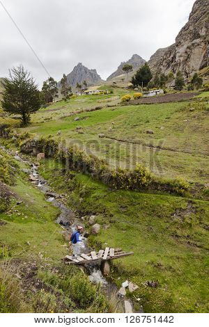 Creek that runs through farms where tourists stroll around Zumbahua province of Cotopaxi Ecuador