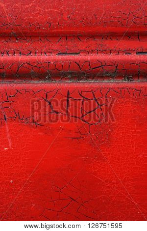 Cracked Red Paint On Grunge Metal Surface - Macro 4