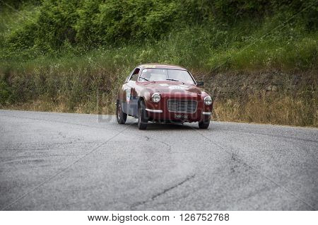 PESARO, ITALY - MAY 15: ZAGATO FIAT 1100/103 Coupé 1954 on an old racing car in rally Mille Miglia 2015 the famous italian historical race (1927-1957) on May 2015