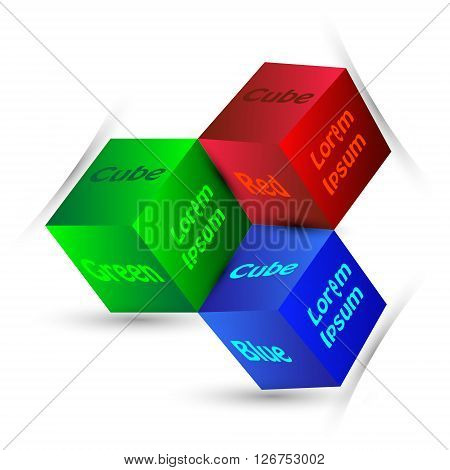 Infographics with different colour cubes Vector Illustration of colourful and mono-chromatic 3d cubes with white background
