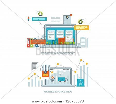 Concept for business analysis, financial report, investment, consulting, strategy planning, project and strategic management, market data analytics. Mobile marketing concept. Online shopping.
