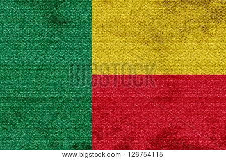 Benin flag with some soft highlights and folds