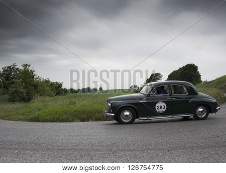 PESARO, ITALY - MAY 15: ROVER 75 1953 on an old racing car in rally Mille Miglia 2015 the famous italian historical race (1927-1957) on May 2015