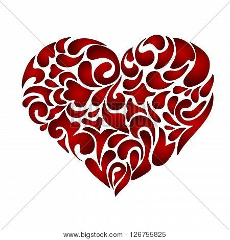 Abstract floral patterned heart valentines day card concept. Flourish doodle swirl design