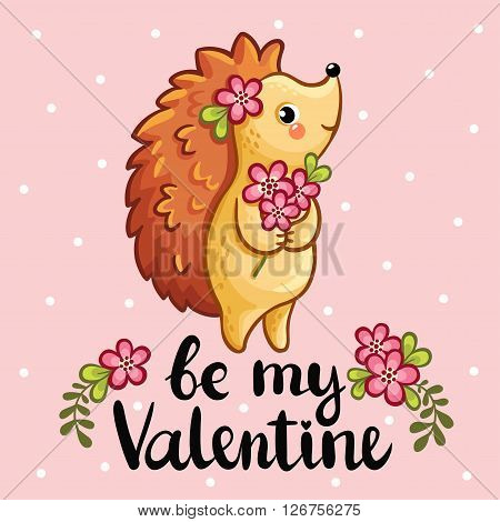 Vector illustration of a cute hedgehog holding in the hands a bouquet of flowers.