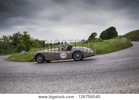 PESARO, ITALY - MAY 15: JAGUAR XK 120 OTS Roadster 1954 on an old racing car in rally Mille Miglia 2015 the famous italian historical race (1927-1957) on May 2015