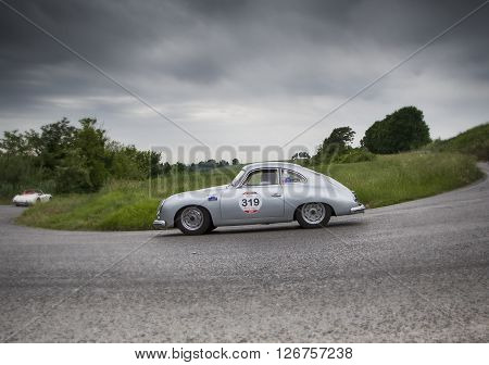 PESARO, ITALY - MAY 15: PORSCHE 356 1500 Coupé 1954 on an old racing car in rally Mille Miglia 2015 the famous italian historical race (1927-1957) on May 2015