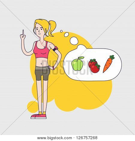 athletic slim woman is thinking about healthy vegetable diet and calories. Woman Fintess characters wearing short leggings and short top. Linear flat design