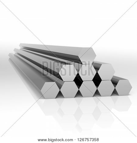 Folded metal beams hexagonal shape at white background 3d illustration