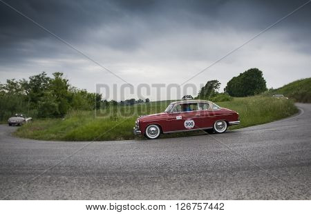 PESARO, ITALY - MAY 15: FIAT 1900 A berlina 1954 on an old racing car in rally Mille Miglia 2015 the famous italian historical race (1927-1957) on May 2015
