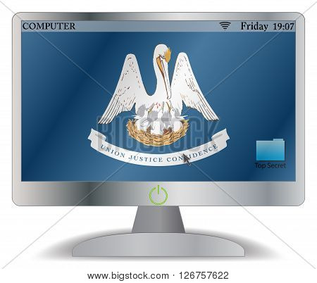 A Louisiana computer screen with an on button isolated on a white background