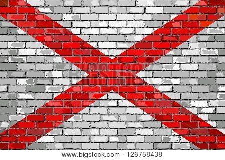 Flag of Alabama on a brick wall - Illustration, 