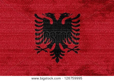 Albania flag with some soft highlights and folds