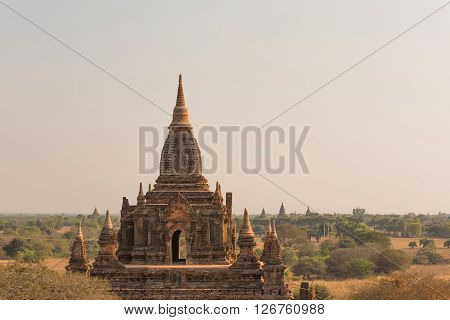 Pagoda landscape the plain of Bagan Myanmar