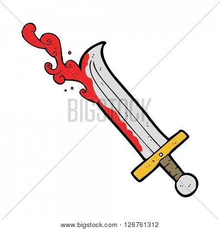 freehand drawn cartoon bloody sword
