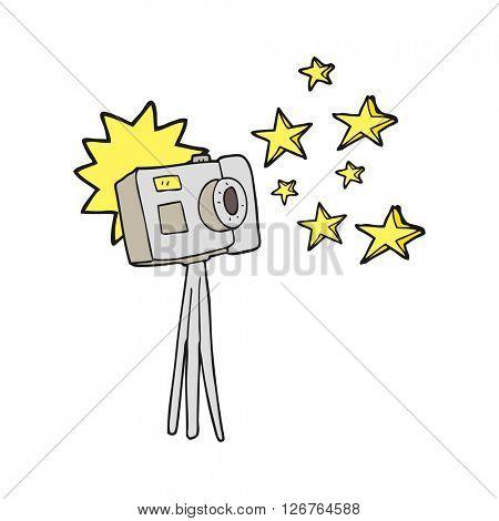 freehand drawn cartoon camera on tripod with flash