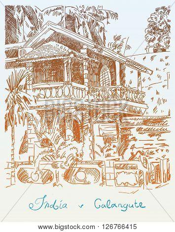 original drawing of India Goa Calangute Baga landscape street, travel sketch, touristic postcard or poster, vector illustration