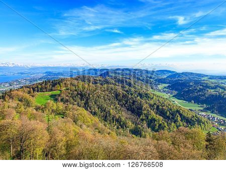 View from Mt. Uetliberg in Switzerland in spring Lake Zurich on the left side.