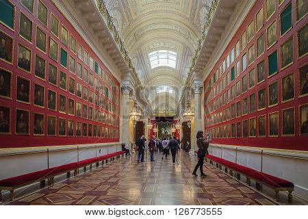 SAINT PETERSBURG RUSSIA - APRIL 07 2016: Interior of the State Hermitage (Winter Palace). Hermitage is one of the largest and oldest museums of art and culture in the world