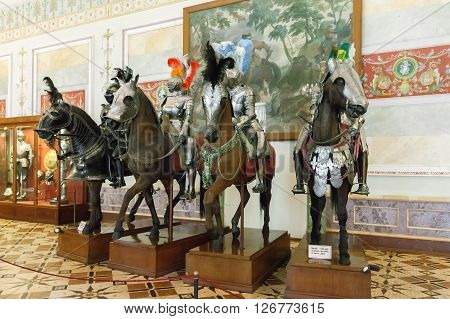 ST. PETERSBURG, RUSSIA - MARCH 03, 2016:  The Knights Hall of the State Hermitage   (Winter Palace). Hermitage is one of the largest and oldest museums of art and culture in the world