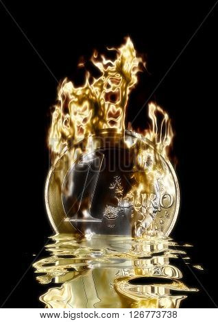 Digital 3D Visualization of a burning Euro