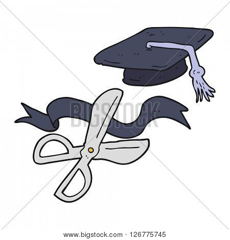 freehand drawn cartoon scissors cutting ribbon at graduation