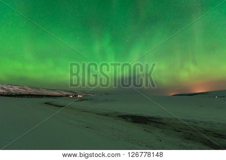 Aurora Borealis (Northern Lights) over southern Iceland.