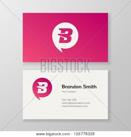 Modern letter B in speech bubble Business card template. Vector design. Layered editable.