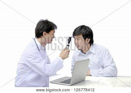 asian ophthalmologist using ophthalmoscope while examining male patient. optometry concept isolated on white background.
