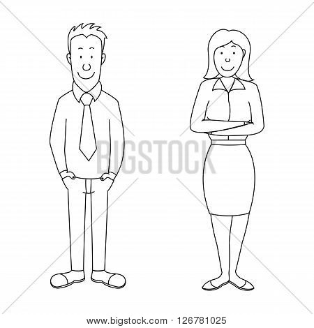 Cartoon confident man and woman employees illustration