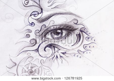 woman eye with ornament, pencil drawing, eye contact
