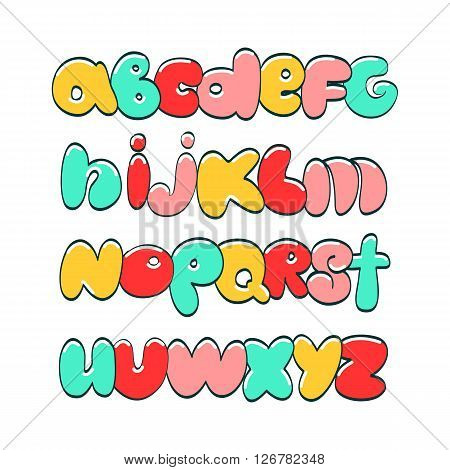 Hand lettering ABC. Funny varicolored alphabet.Urban style.Street basis font.