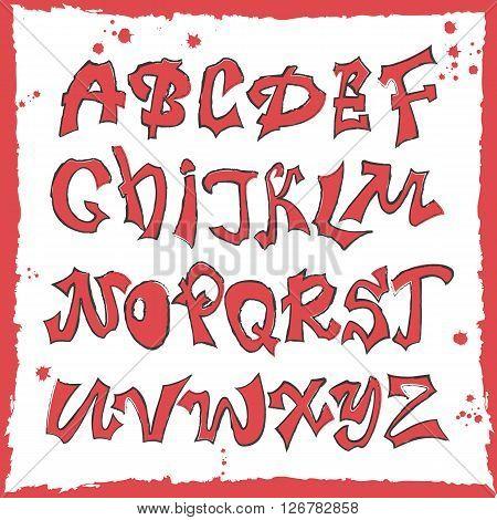 Hand lettering graffiti alphabet.Urban style.Street basis font.