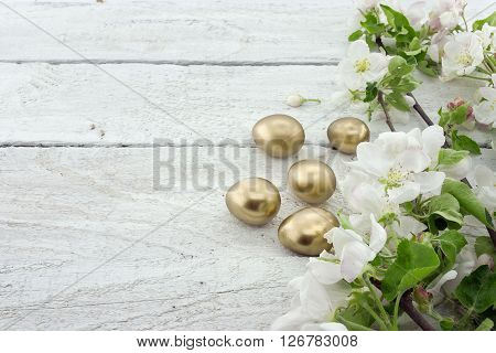 Spring Apple Tree Blossom On Rustic Wooden Background With Space For Greeting Message. Mother's Day