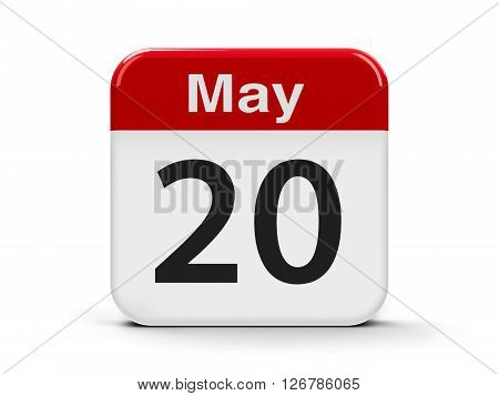 Calendar web button - The Twentieth of May - World Metrology Day three-dimensional rendering 3D illustration